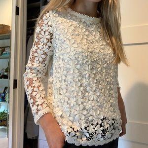 Audrey 3+1 crotchet flower long sleeve top